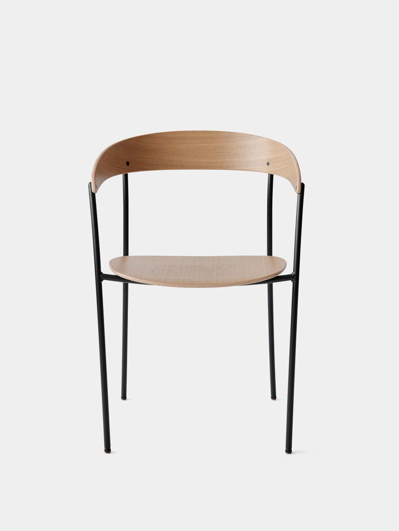 Missing Chair with Armrest - Lacquered Oak w. Black Frame