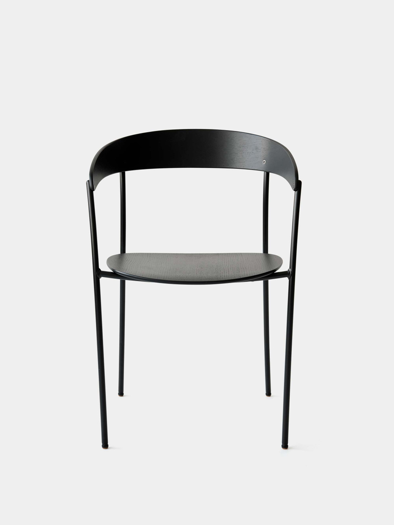 Missing Chair with Armrest - Black Lacquered Oak w. Black Frame