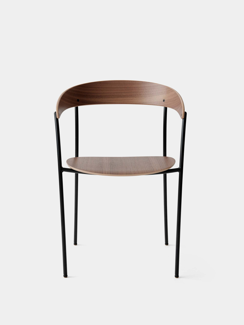 Missing Chair with Armrest - Lacquered Walnut w. Black Frame