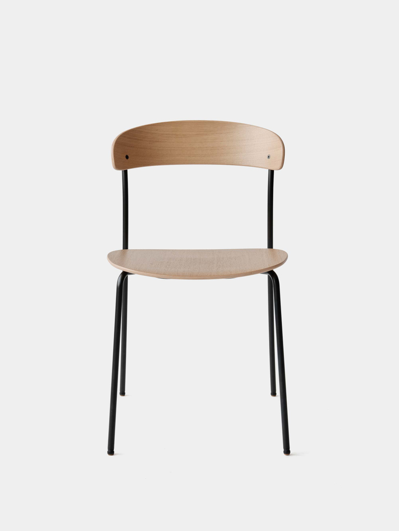 Missing Chair without Armrest - Lacquered Oak w. Black Frame
