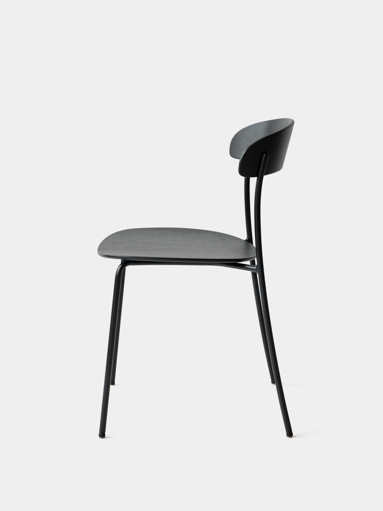 Missing Chair without Armrest - Black Lacquered Oak w. Black Frame
