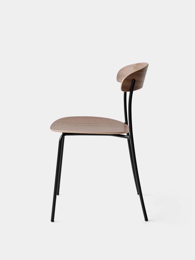 Missing Chair without Armrest - Lacquered Walnut w. Black Frame