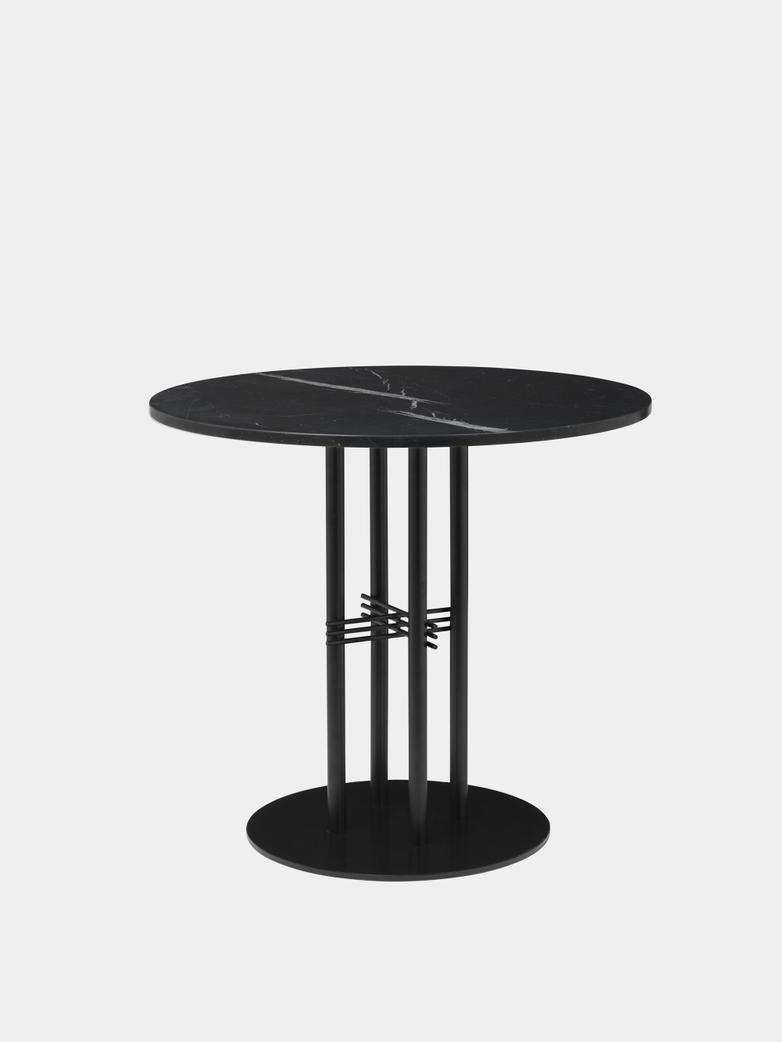 TS Column Dining Table Ø80 - Black Marquina Marble/Black Base