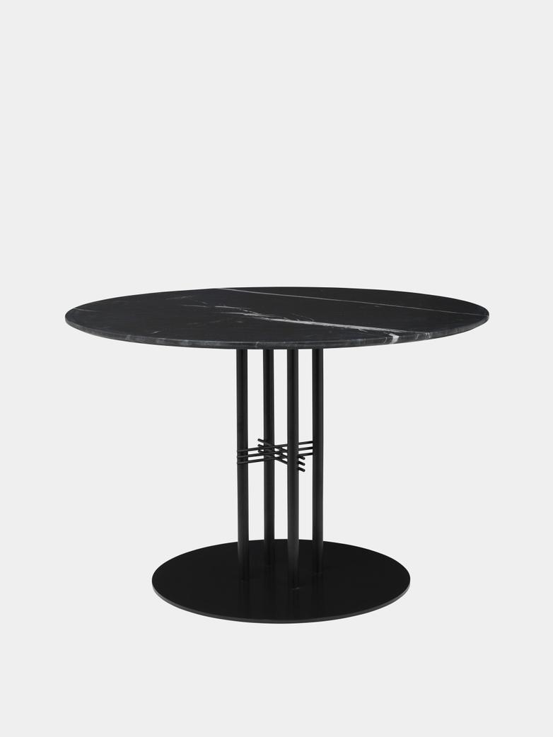 TS Column Dining Table Ø110 - Black Marquina Marble/Black Base