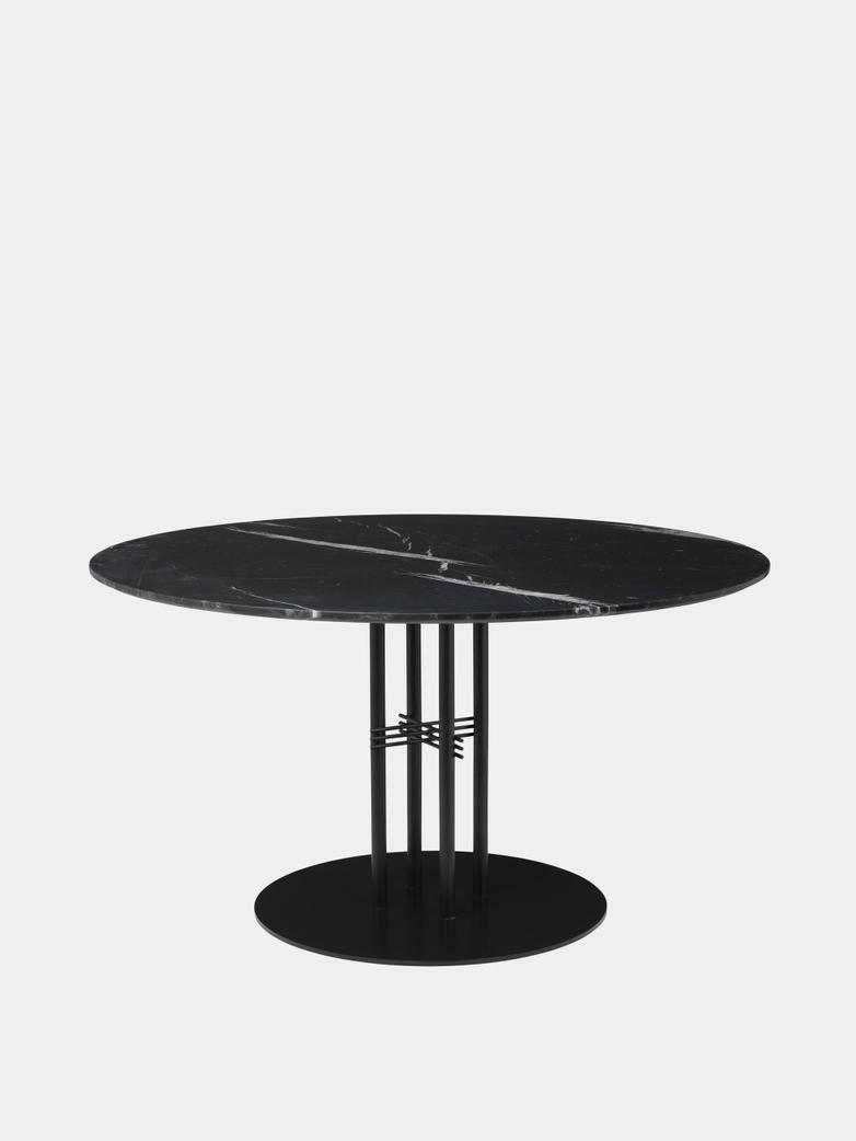 TS Column Dining Table Ø130 - Black Marquina Marble/Black Base