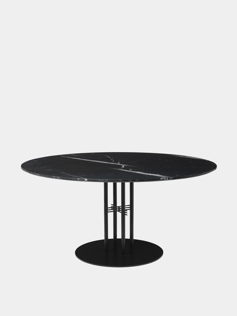 TS Column Dining Table Ø150 - Black Marquina Marble/Black Base