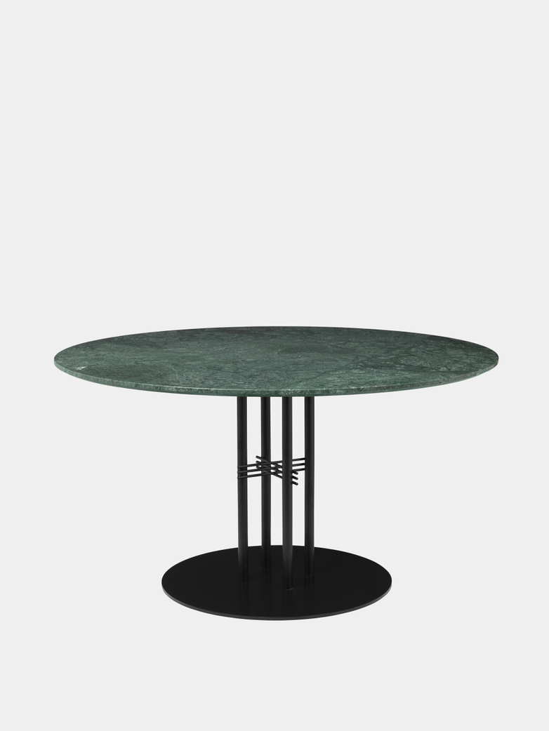 TS Column Dining Table Ø130 - Green Guatemala Marble/Black Base