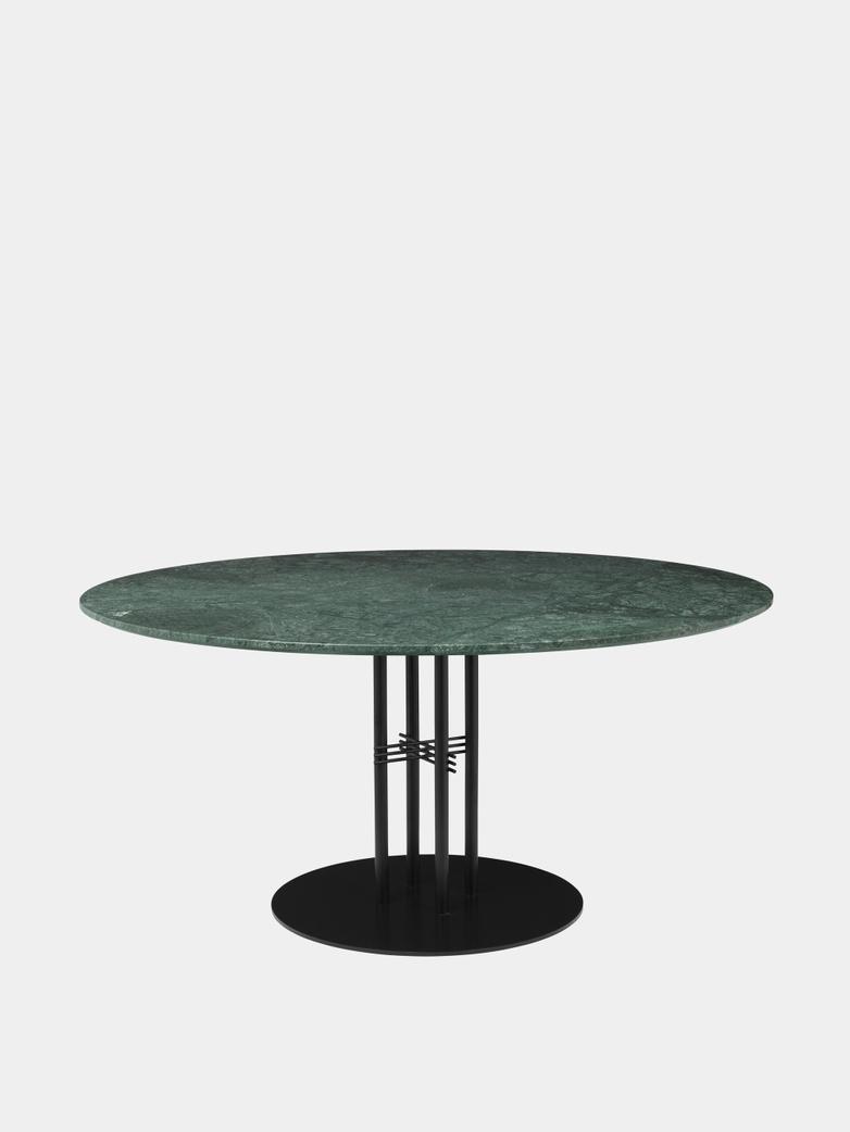 TS Column Dining Table Ø150 - Green Guatemala Marble/Black Base