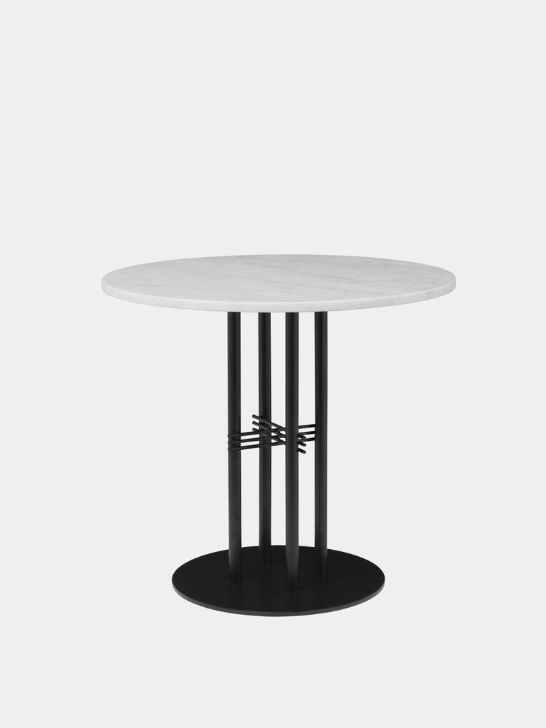 TS Column Dining Table Ø80 - White Carrara Marble/Black Base