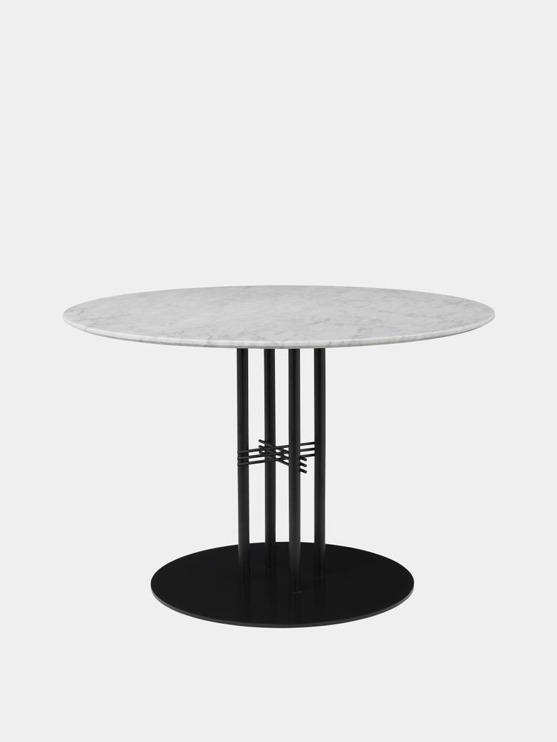 TS Column Dining Table Ø110 - White Carrara Marble/Black Base