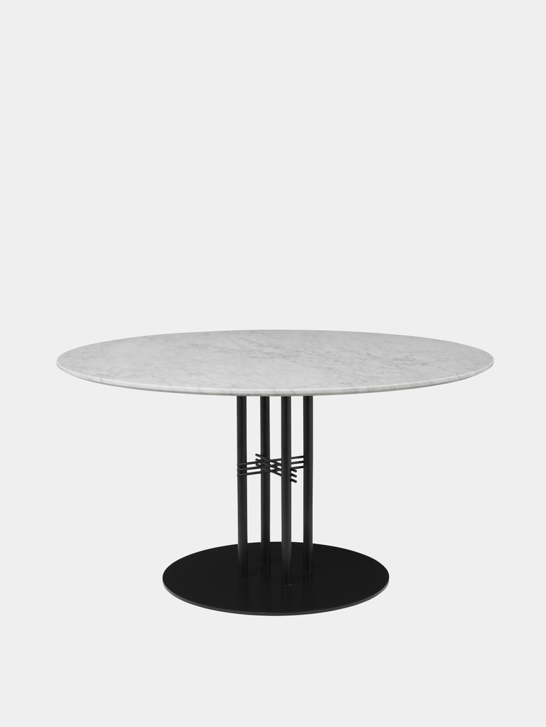TS Column Dining Table Ø130 - White Carrara Marble/Black Base