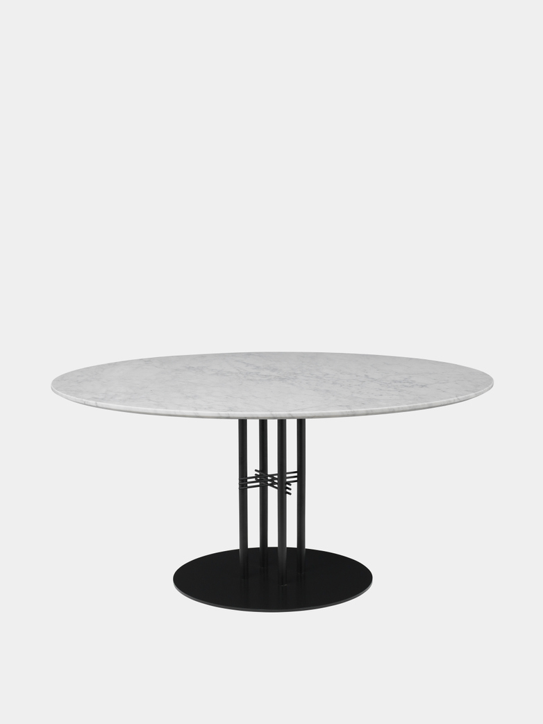 TS Column Dining Table Ø150 - White Carrara Marble/Black Base