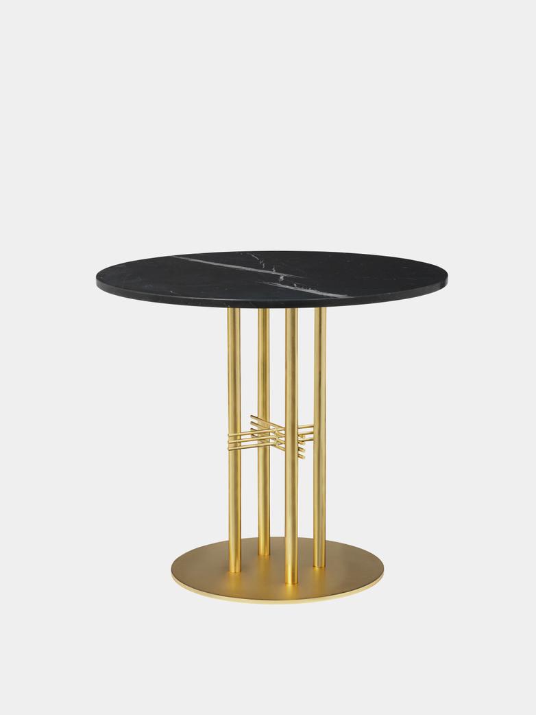 TS Column Dining Table Ø80 - Black Marquina Marble/Brass Base