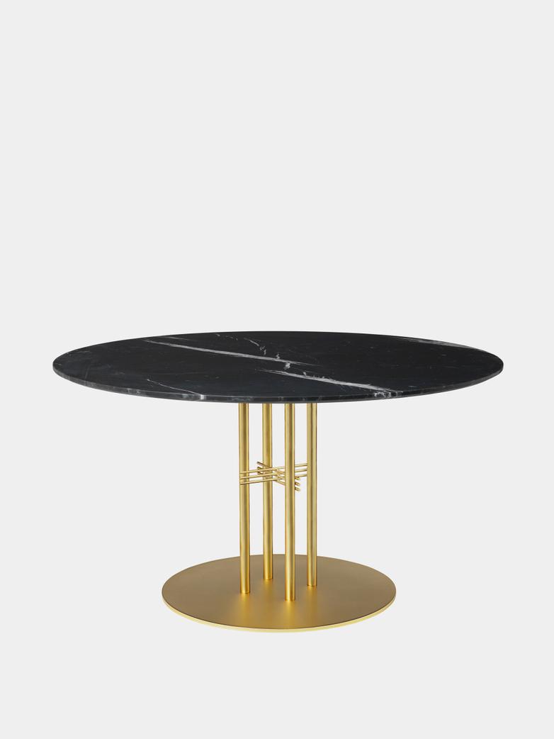 TS Column Dining Table Ø130 - Black Marquina Marble/Brass Base