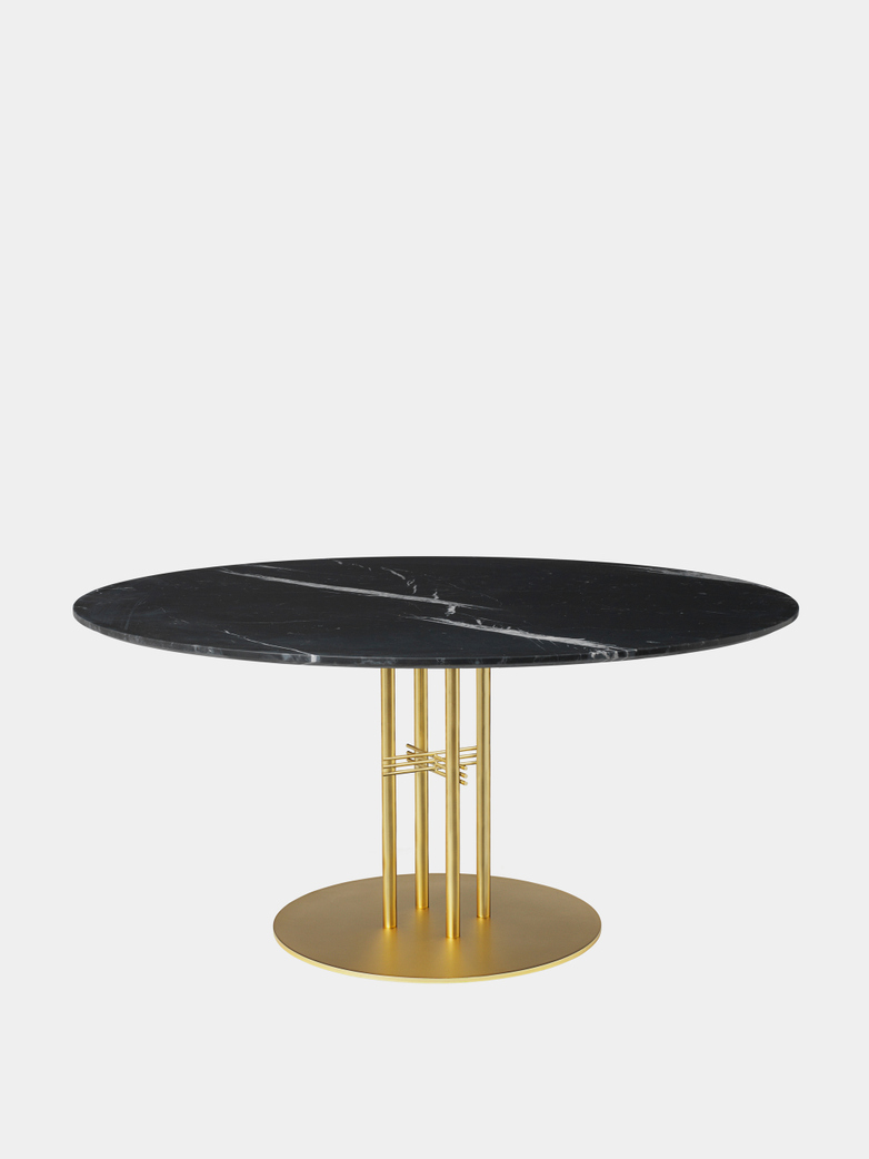 TS Column Dining Table Ø150 - Black Marquina Marble/Brass Base