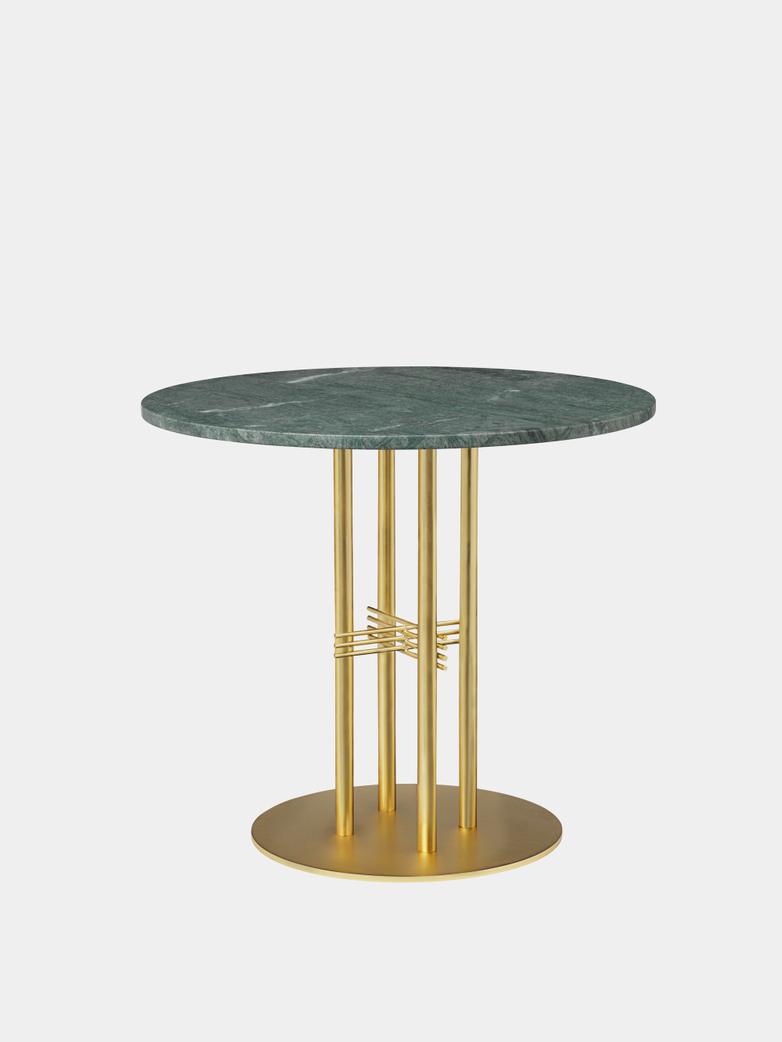 TS Column Dining Table Ø80 - Green Guatemala Marble/Brass Base