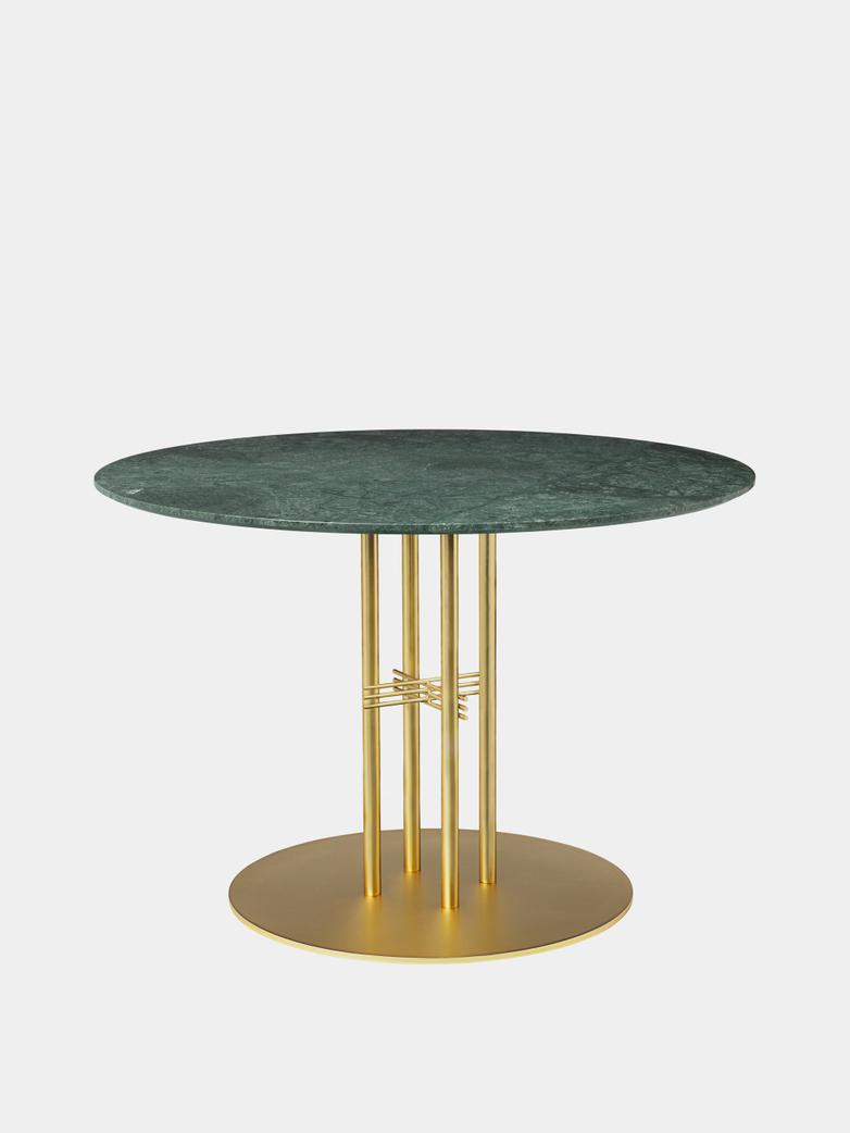 TS Column Dining Table Ø110 - Green Guatemala Marble/Brass Base