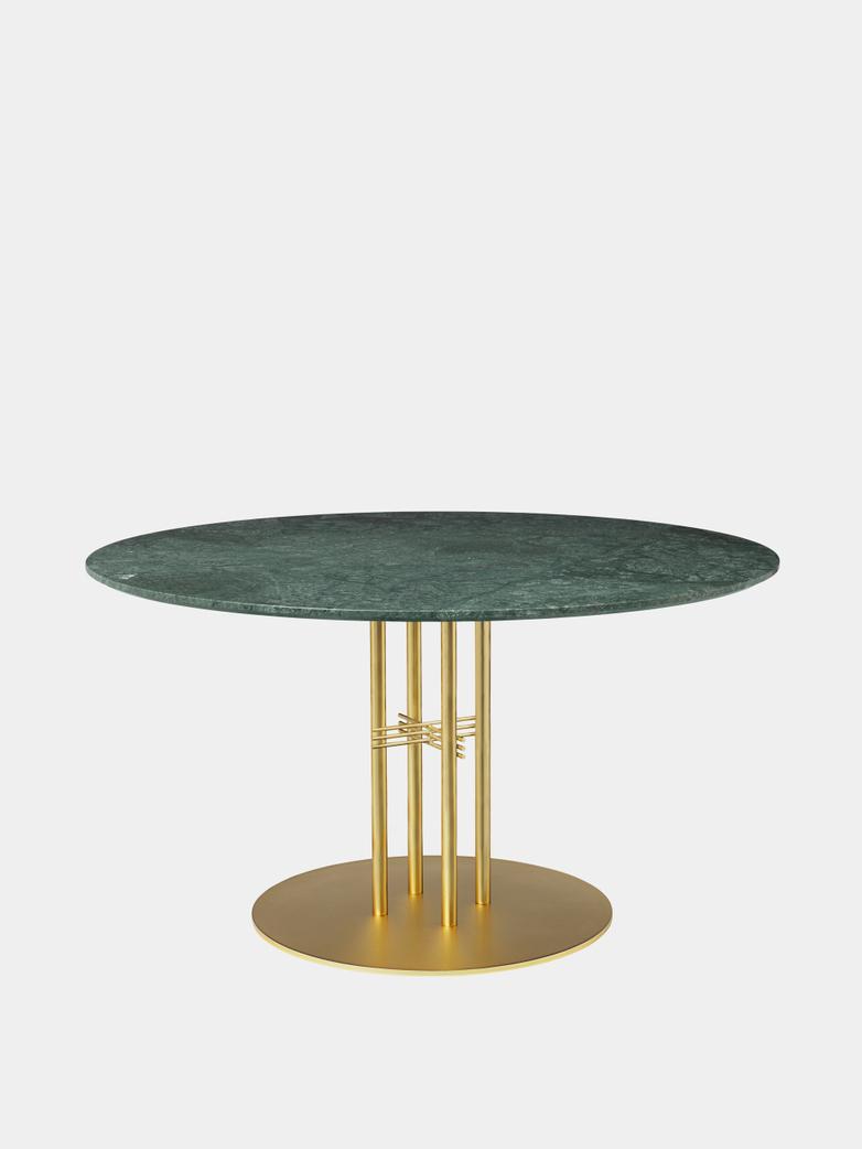 TS Column Dining Table Ø130 - Green Guatemala Marble/Brass Base