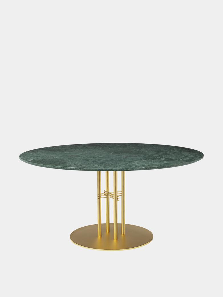 TS Column Dining Table Ø150 - Green Guatemala Marble/Brass Base