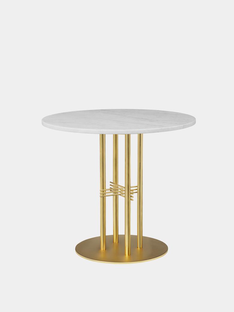 TS Column Dining Table Ø80 - White Carrara Marble/Brass Base