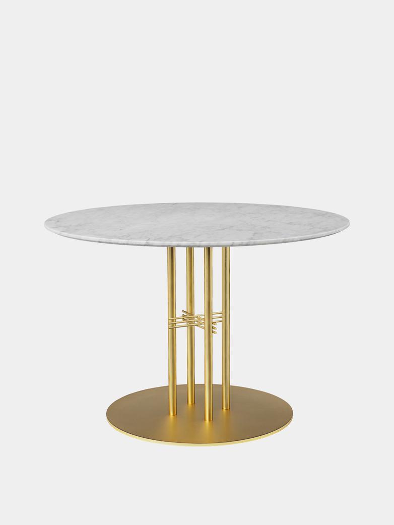 TS Column Dining Table Ø110 - White Carrara Marble/Brass Base