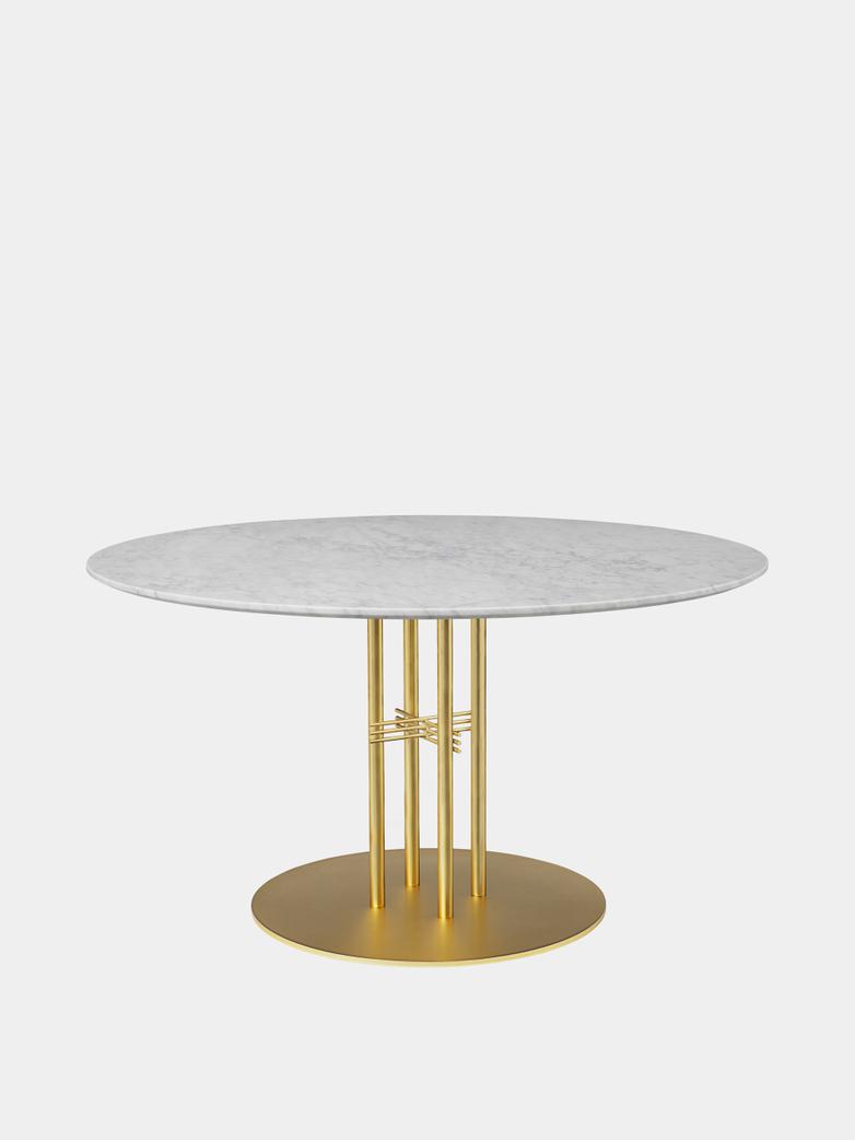 TS Column Dining Table Ø130 - White Carrara Marble/Brass Base