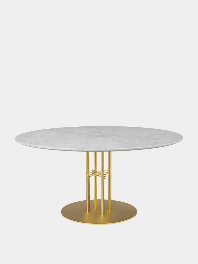 TS Column Dining Table Ø150 - White Carrara Marble/Brass Base
