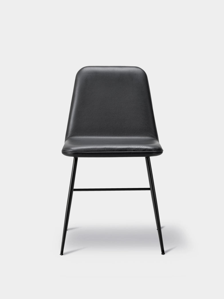 Spine Metal Base Chair - Black/Black Leather 88