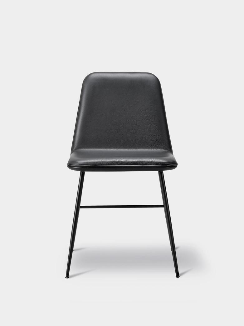 Spine Metal Base Chair - Black/Black Leather 88