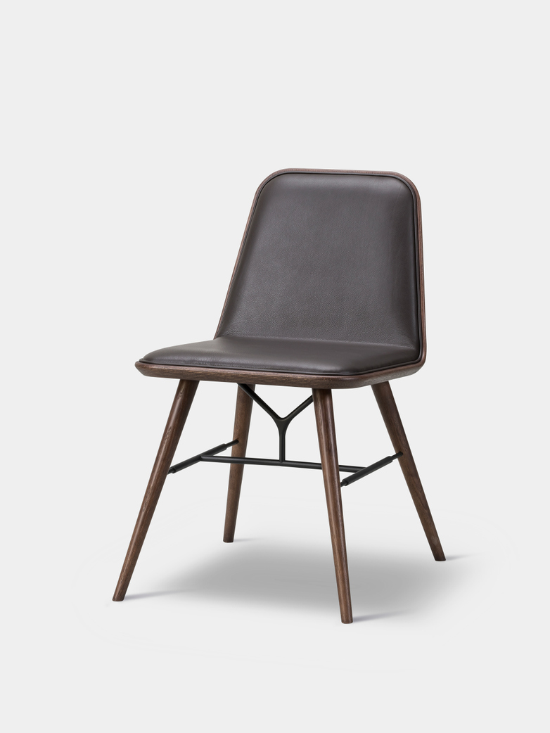 Spine Wood Base Chair - Smoked Oak/Dark Brown Leather 86