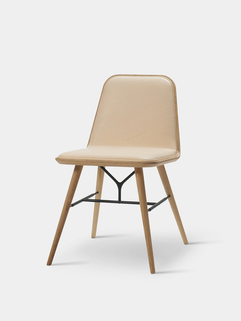 Spine Wood Base Chair - Oak Lacquered/Natural Leather 90