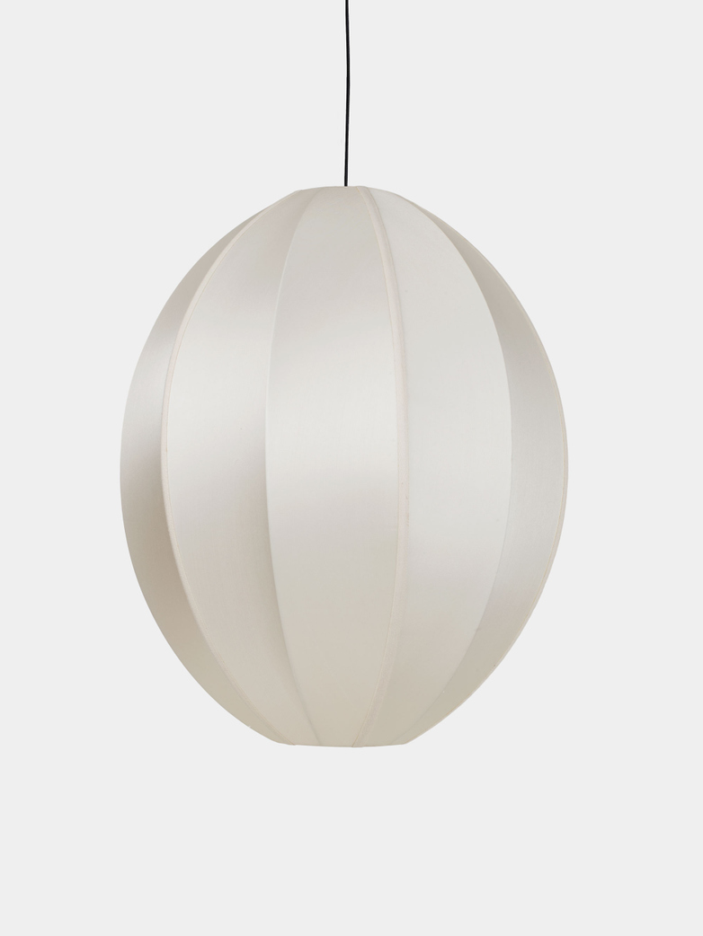 Bali Oval Silk Lamp - Offwhite