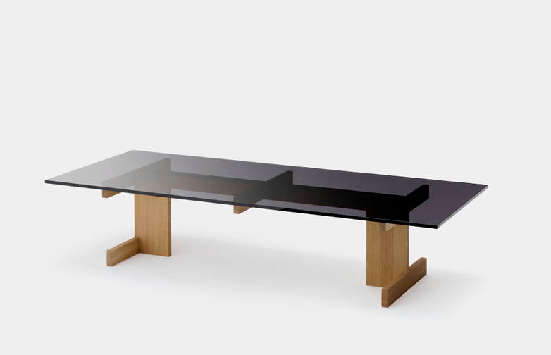 A-CT01 Sofa Table - Oak/Glass