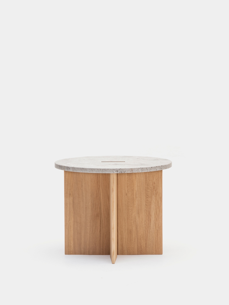 N-ST01 Side Table - Oak/Marble