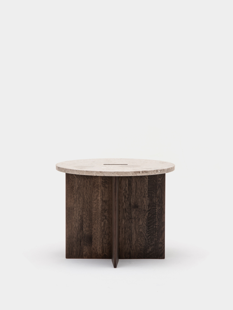 N-ST01 Side Table - Smoked Oak/Marble