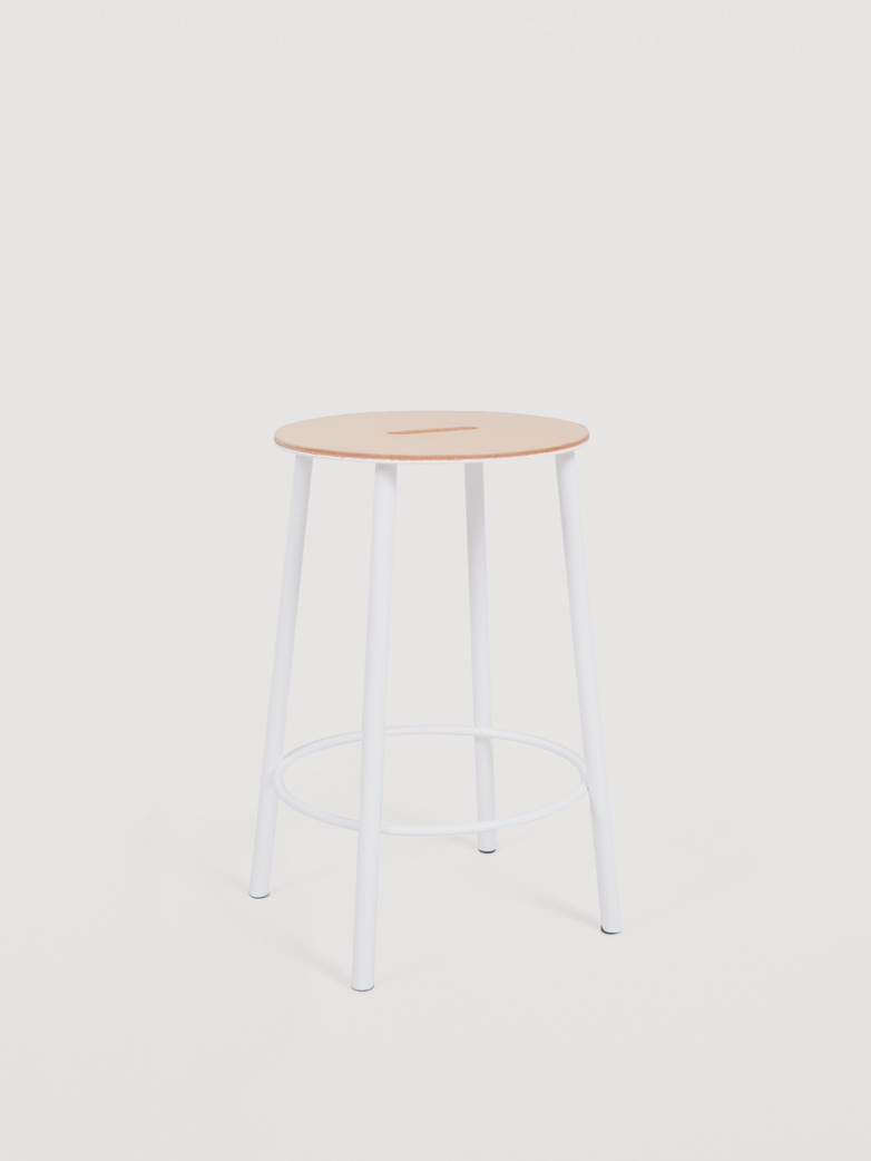 Adam Stool Round Leather - White