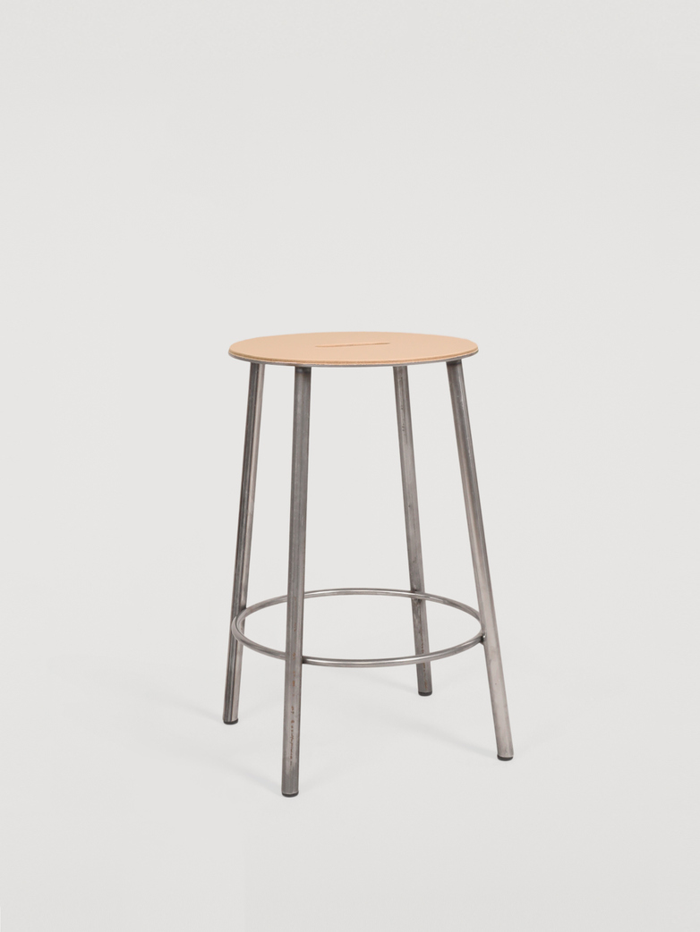 Adam Stool Round Leather - Raw Steel