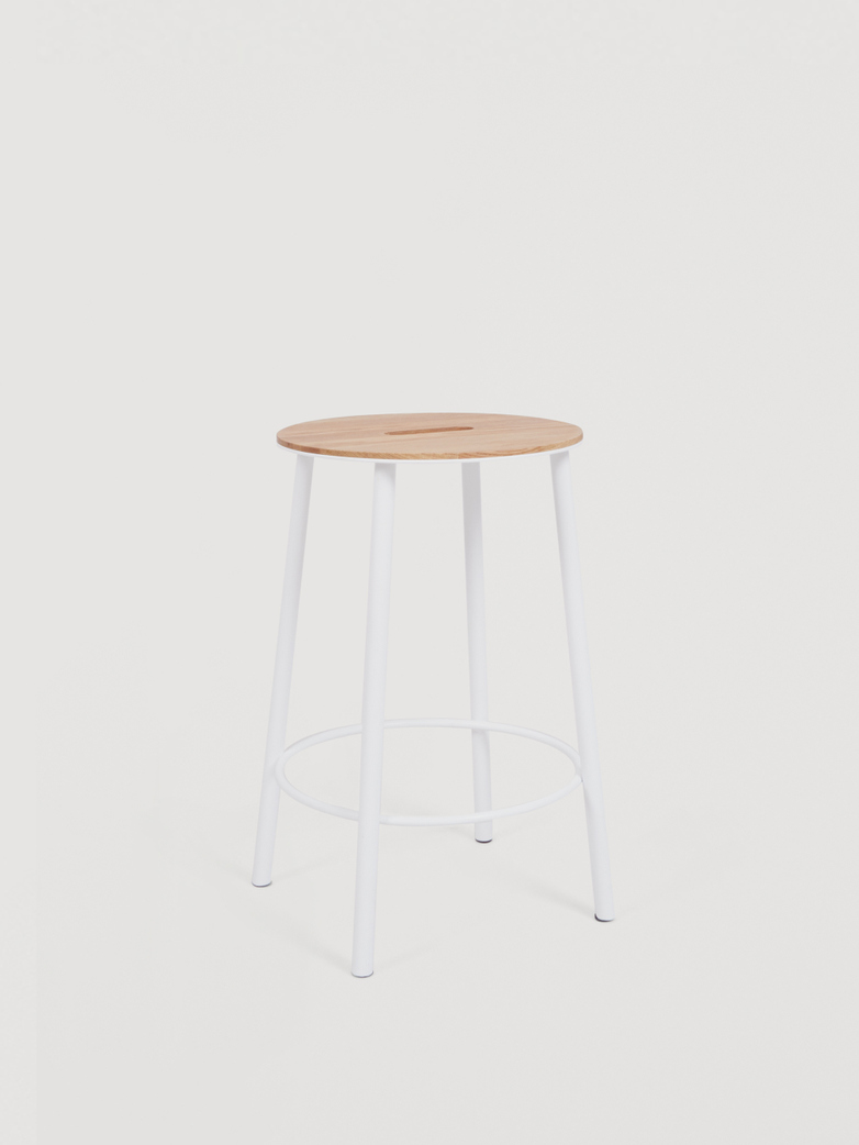 Adam Stool Round Oak - White