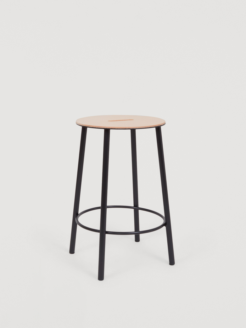 Adam Stool Round Leather - Black