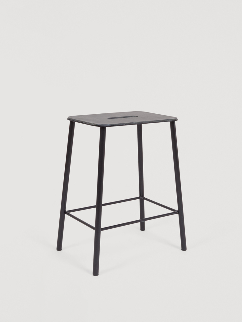 Adam Stool Anthracite Leather - Black