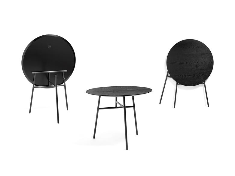 Tilt Top Table - Black Stained Ash Veneer - 90 cm