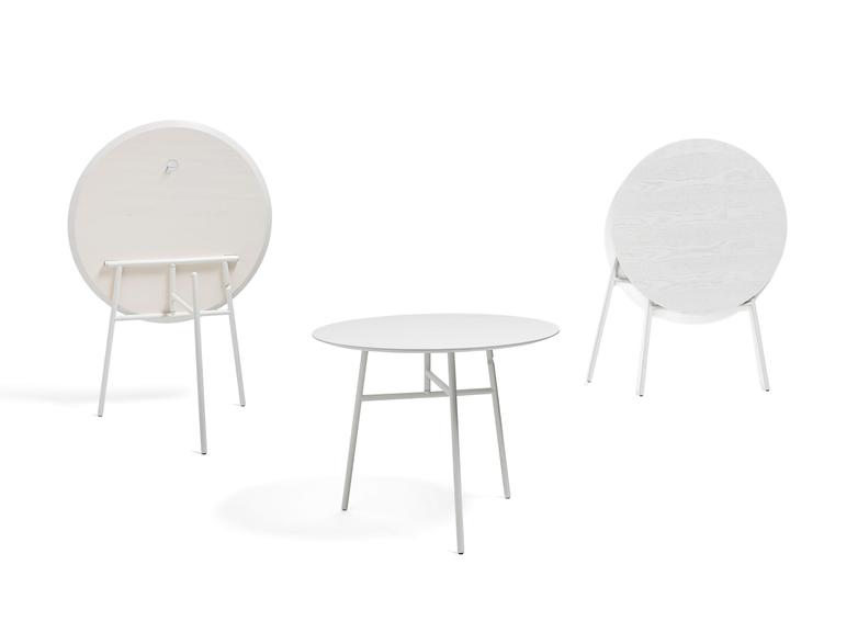 Tilt Top Table - White Stained Ash Veneer - 90 cm