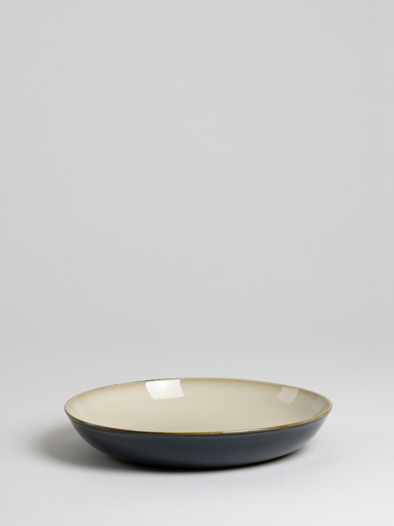 Terres de Rêves - Pasta Plate - Misty Grey/Dark Blue