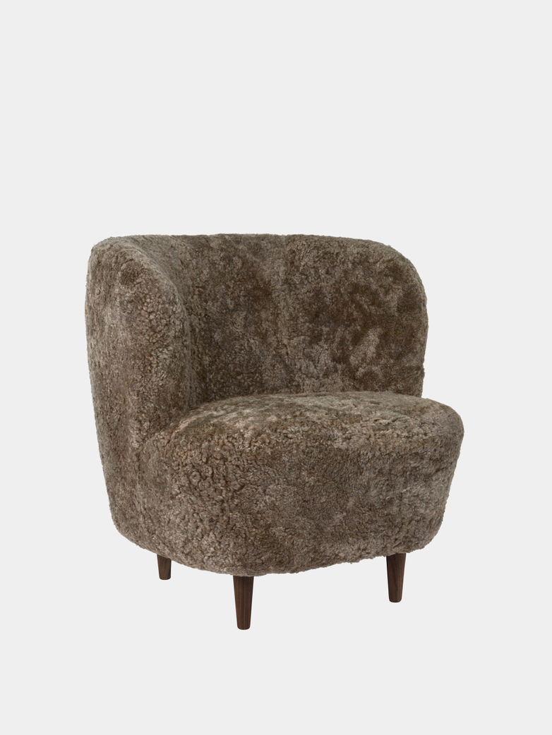 Stay Lounge Chair Small - Sheepskin/Wooden Legs