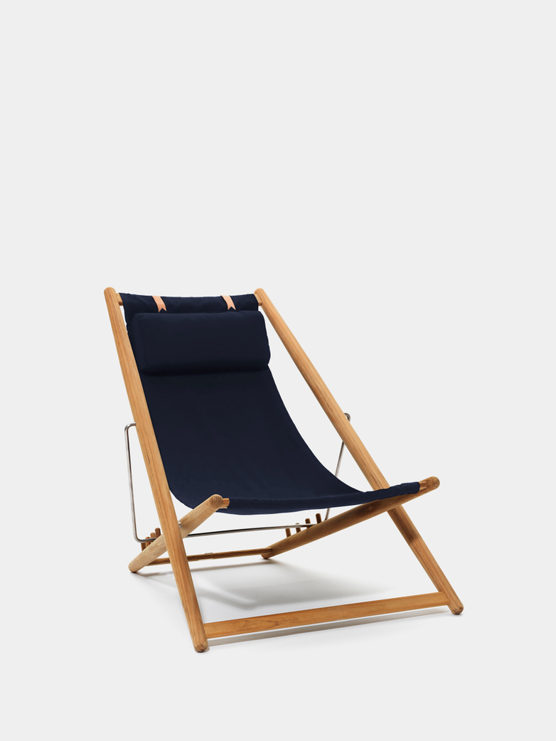 H55 Lounge Chair - Teak/Navy Blue