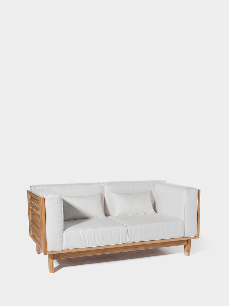 Skanör 2-Seater Sofa - Teak/White
