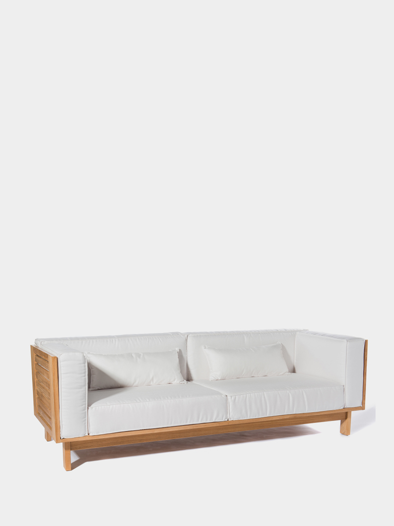 Skanör 3-Seater Sofa - Teak/White