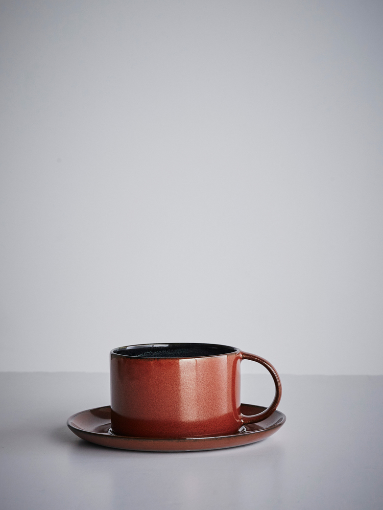 Coffee Cup With Saucer - Dark Blue/Rust