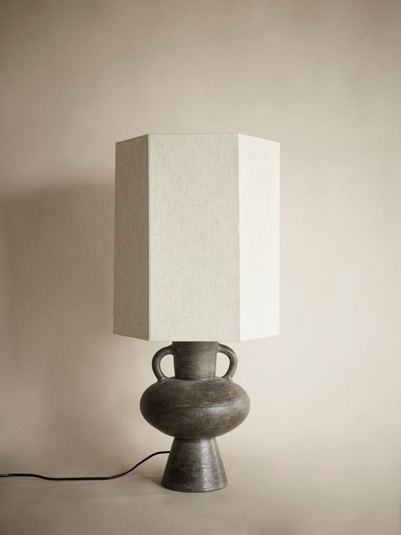 Stoneware Lampbase Charcoal L with Hexagonal Lampshade