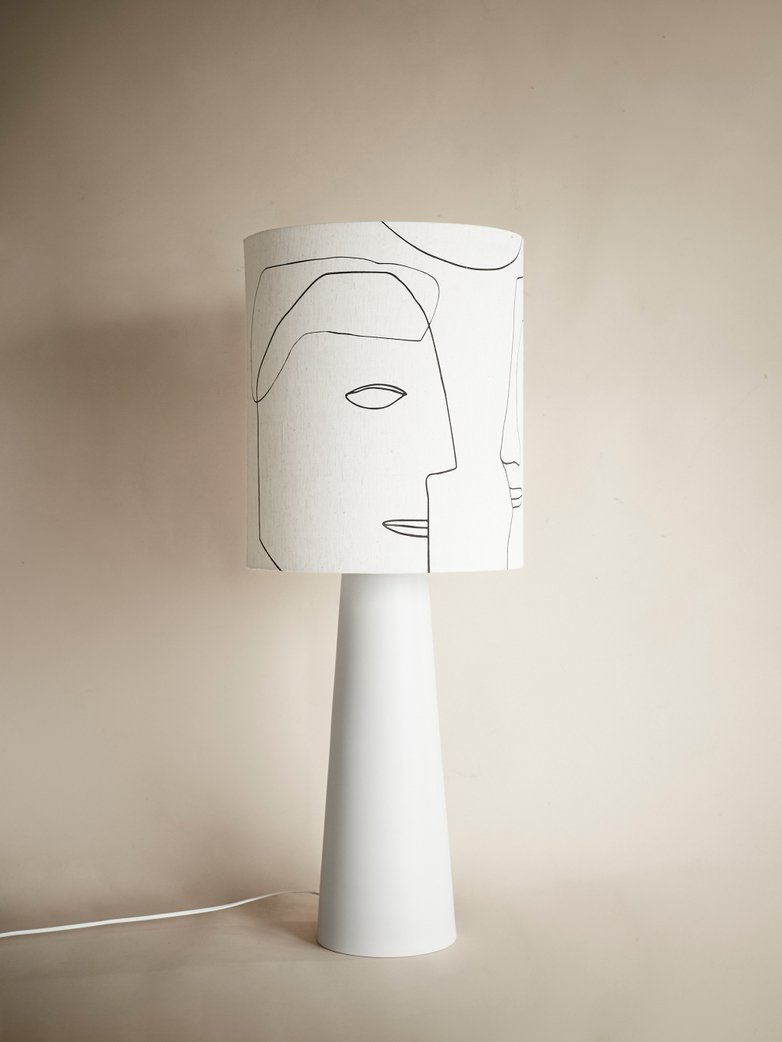 Cone Lamp Base with Printed Faces Lampshade